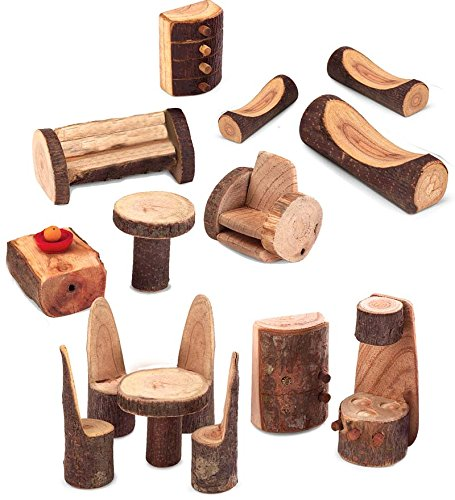 Rustic Tree Block Furniture Collection, 15 Pieces