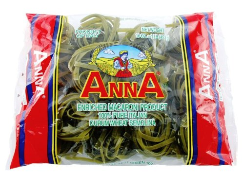 Anna Fettuccine Nests Spinach, 1 Pound Bags (Pack of 12)