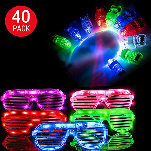 40 Pack Light Up Toy,20 Light Up Glasses