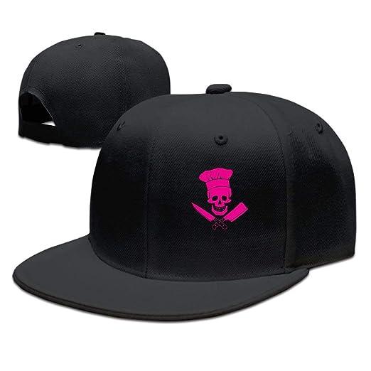 Fashion Skull Chef Unisex Flat Bill Hip-Hop Trucker Baseball Cap ... 6596784afcb