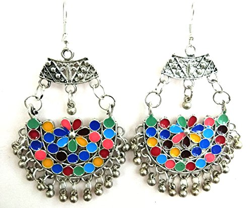 Banjara Dance Costumes (IndianTradion Women's Belly Dance Lotus Flower Drop Dangle Earrings Kan Long Dangle Oxidized Vintage Jewelry Gypsy Boho Kuchi Afghan Jewelry)