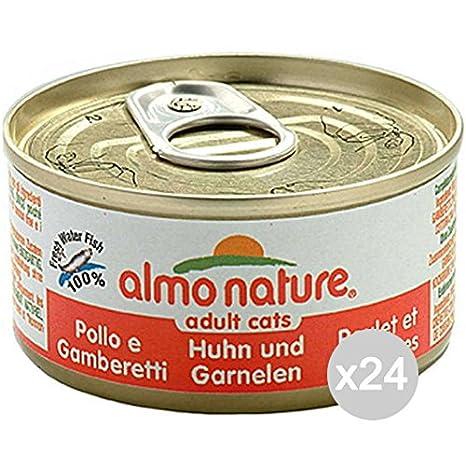 Almo nature Juego 24 5024 Gato Lata 70 Pollo y gambere Comida para Gatos: Amazon.es: Productos para mascotas