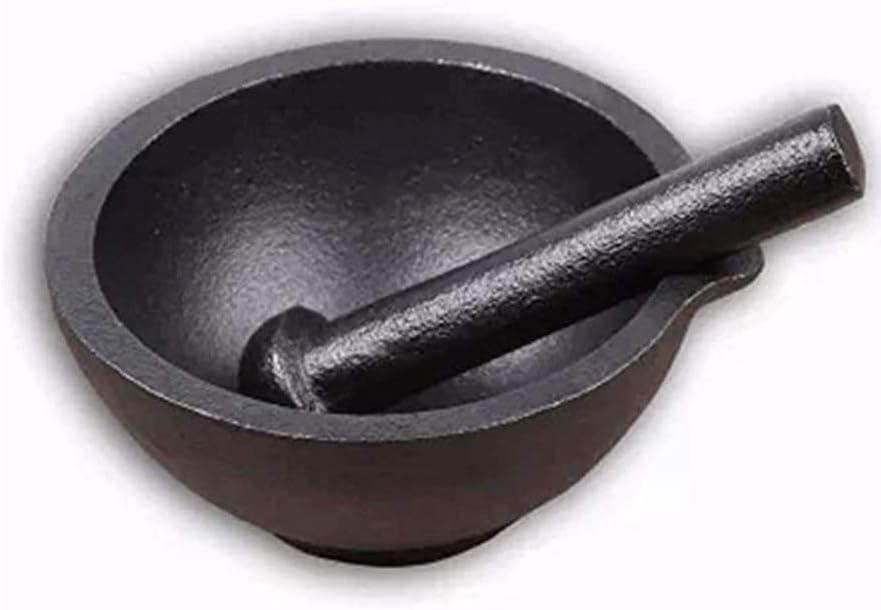 Sdesign Utensilios de Cocina de Hierro Fundido mortero y mortero, molienda Blender Bowl, Grinder y trituradora, del Recipiente de Mezcla, Especias Grinder