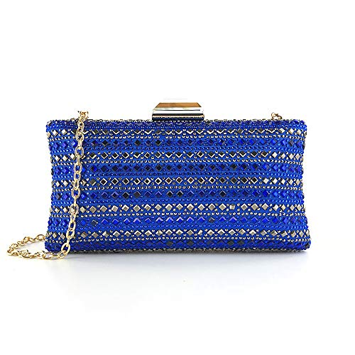 Pack Night Tote Clutch Messenger Women's Satchel FZHLY Shoulder Diamond Luxury Cheongsam Blue Crossbody Dress Dinner Hot Package Club Evening Bag 8SWqIBCO