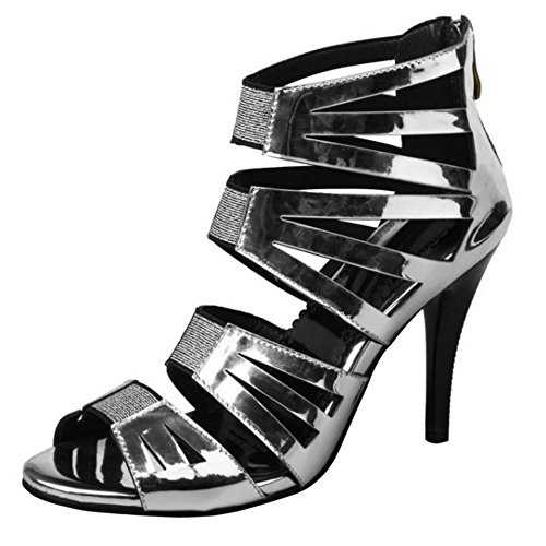 Coolcept Women Fashion Stiletto Sandals Zipper Silver mChvZmb