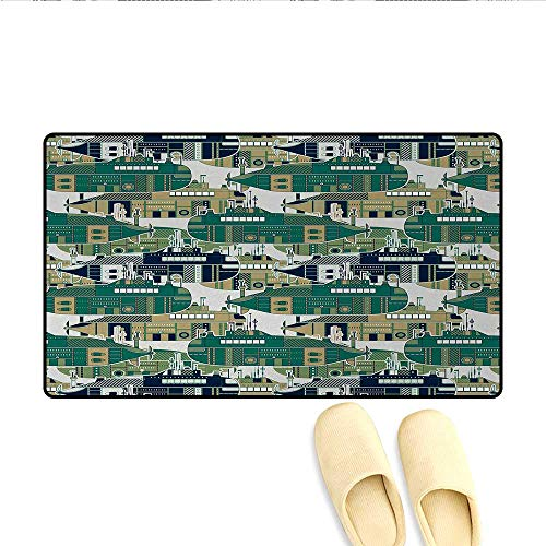 Bath Mat,Old School Submarine Concept with Torpedoes Vintage Hand Drawn Squares Circles Image,Door Mats for ()