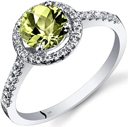 14K White Gold Peridot Halo Ring Round Checkerboard Cut 1.00 Carats Sizes 5 to 9