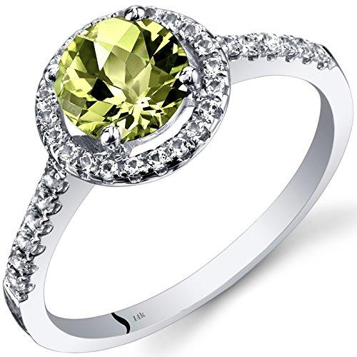 14K White Gold Peridot Halo Ring Round Checkerboard Cut 1.00 Carats Size 8