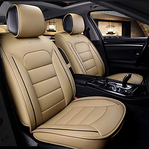 Car Seat Covers Universal Luxury Seat Cushion Leather 5 Seats Full Set Cozy Wear-resistant PU leather Suitable for year-round use,(Color:Beige) (Shop-bedingungen)