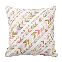 """Stylish Chic Pink and Gold Tribal Pattern Pillow Fashion Throw Pillow Case Shell Decorative Cushion Cover 18 x 18"""""""
