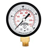 Winters PEM Series Steel Dual Scale Economical All Purpose Pressure Gauge with Brass Internals, 0-200 psi/kpa, 2'' Dial Display, +/-3-2-3% Accuracy, 1/8'' NPT Bottom Mount
