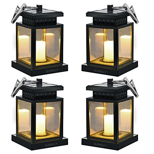 Hanging Solar Lights - Sunklly Waterproof LED Outdoor Candle Lantern Decorated in Garden Patio Deck (Yellow Light, Pack of ()