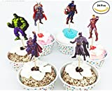 Pack of 24pc The Avengers and Superheros Cupcake Topper Picks Boy's Party Decoration Kid's Birthday Party Decoration Supplies