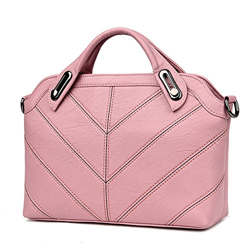 Gwqgz New Single Handbag Fashion Leisure Cross Bag Dark Gray Pink