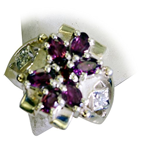 - Genuine Garnet Silver Ring Astrology Cluster Setting Gemstone Jewelry Avaliable Size 5,6,7,8,9,10,11,12