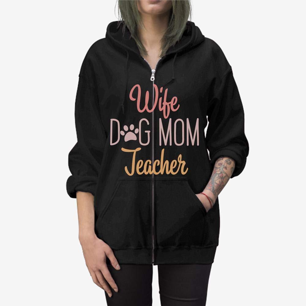 Dog Mom Teacher Wife Professor Pug Wiener Dogs Gift Zip Hooded Sweatshirt