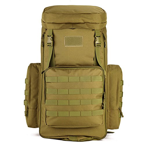 70-85L Large Capacity Tactical Travel Backpack MOLLE Hiking Rucksack Outdoor Travel Bag Assault Pack for Travelling Trekking Camping Hiking Hunting & Sports Events - Brown