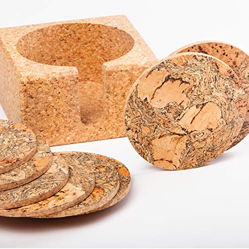 Natural Cork Coasters for Drinks - 10 Absorbent Drink Coasters with Matching Cork Holder That Doubles as a Bottle Coaster to Protect Tables and Countertops