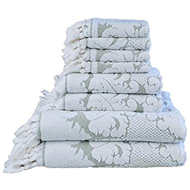 Nysa Floral Ornament Design Knotted Hem Jacquard 8 Piece Towel Sets - 100 Percent Genuine Turkish Cotton - Made in Turkey (Green)