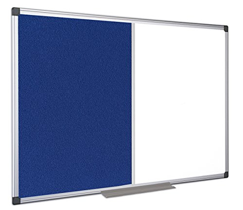Bi-Office – Maya Combination Magnetic Whiteboard Aluminium Frame Noticeboard 60x45 cm Blue by Bi-silque