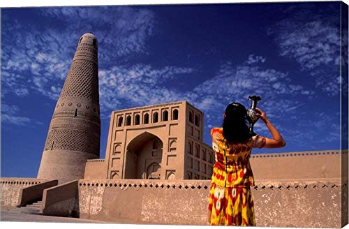 (Uighur Girl Carrying Jar, Turpan, Xinjiang Province, Silk Road, China by Keren Su/Danita Delimont Canvas Art Wall Picture, Gallery Wrap, 36 x 24 inches)