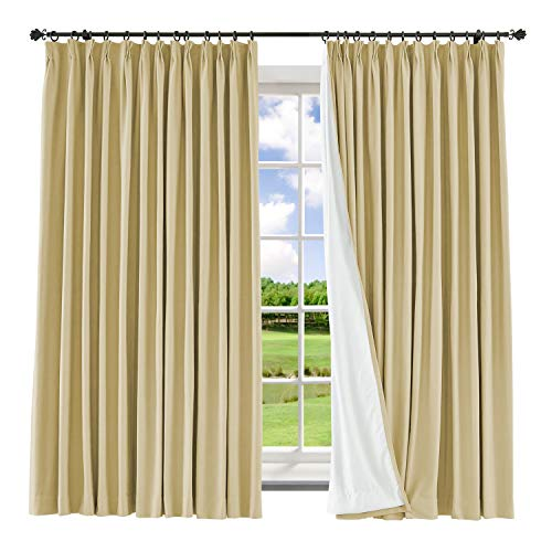 Macochico Extra Wide Curtains with Blackout Lining 120W x 96L Thermal Insulated Polyster Cotton Pinch Pleat Drapes for Living Room Bedroom,Sahara Sun(1 -