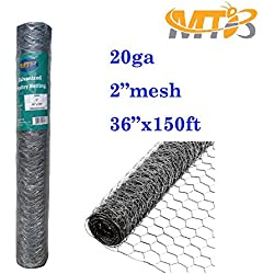 "Galvanized Hexagonal Poultry Netting,Chicken Wire 36""x150'- 2"" 20GA (also sold in 25' / 50' length)"