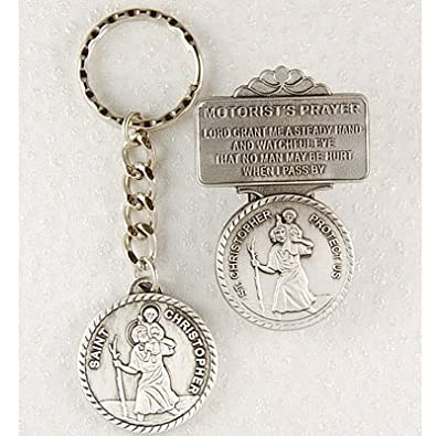 Men or Womens St. Christopher Keychain Key Ring   Visor Clip Set Car  Vehicle. 018a3d4354
