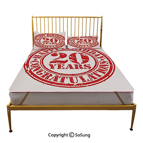 20th Birthday Decorations Creative King Size Summer Cool Mat,Happy Birthday for 20 Years Old Worn Grunge Stamp Image Sleeping & Play Cool Mat,Black and White ()