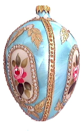 Museum Collection Fabergé St. Petersburg Rose Egg Glass Ornament-Large