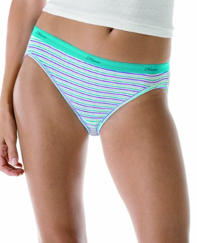 Hanes Women's 6-Pack No Ride Up Cotton Bikini Panty, Assorted, 7 (Panty Bikini Solid)