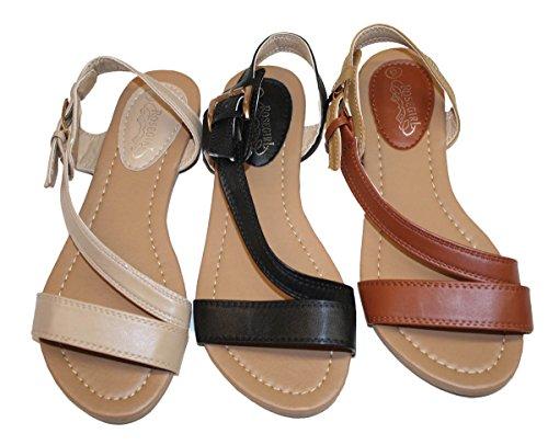 Sandali Gladiatore Donna Estate Appartamenti Fashionthongs T Cinturini Scarpe Da Donna Tan