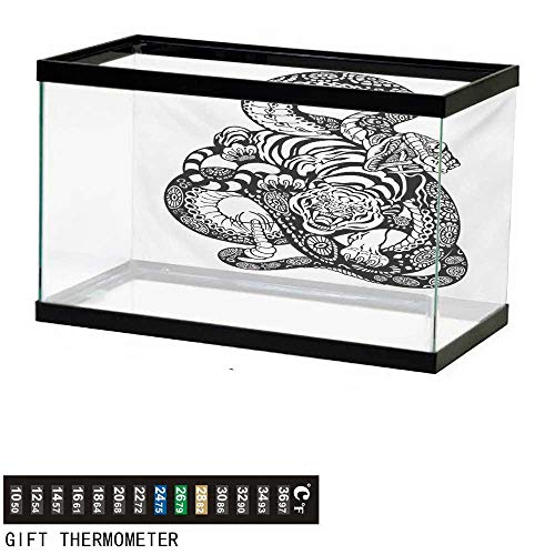 wwwhsl Aquarium Background,Tiger,Tattoo Style Scene of Two Animals Struggling Long Snake with Sublime Large Cat,Black and White Fish Tank Backdrop 24