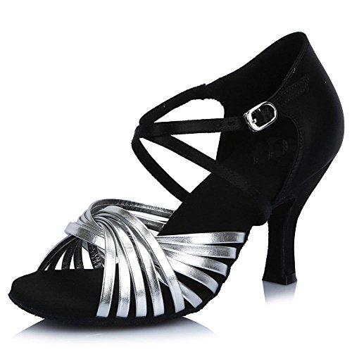YFF Frauen Satin Latin Salsa Tango Party Ballroom Dancing Shoes weichen Boden AF44605