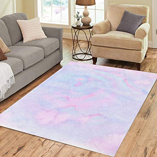 Pinbeam Area Rug Marble Inky Pastel Neon Pink Mint Turquoise Blue Home Decor Floor Rug 5' x 7' Carpet ()