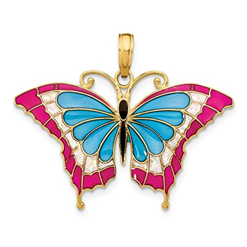 (14k Yellow Gold Blue Pink Enameled Butterfly Pendant Charm Necklace Animal Fine Jewelry Gifts For Women For Her)