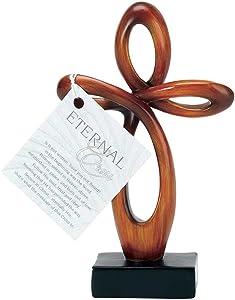 Dicksons Open Heart Eternal Woodgrain Carved Brown 6 Inch Resin Tabletop Cross