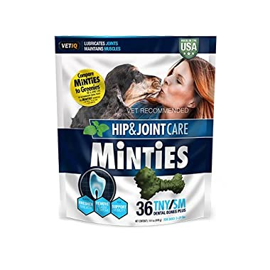 Minties by VetIQ Hip and Joint Arthritis Medicine Bone for Dogs - Dental Bone Dog Medicine Treat for Hip and Joint, 36 TNY/SM