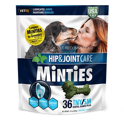Minties By Vetiq Hip And Joint Arthritis Medicine Bone For Dogs   Dental Bone Dog Medicine Treat For Hip And Joint  36 Tny Sm