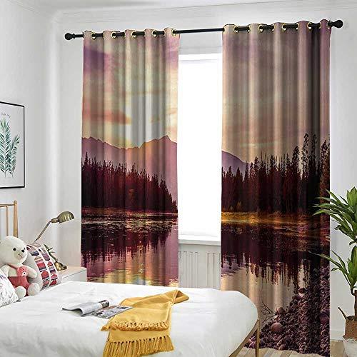 Bedroom Curtains Insulated Blackout Curtain Landscape,Grand Teton Mountain Range at Sunset Jackson Lake Calm National Park USA,Peach Pale Yellow