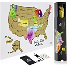 Scratch Off Map Of The United States In STUNNING WATERCOLOR - Your 12 x 18 USA Map Has Easy Scratch Off Gold Foil And Reveals All US States - Gorgeous Full Color Gift Box Included