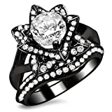 Smjewels 1.60 Ct Round Sim.Diamond Lotus Flower Engagement Ring Bridal Set 14K Black Gold Fn