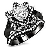 Smjewels 1.60 Ct Round Sim.Diamond Lotus Flower Engagement Ring Bridal Set 14K Black Gold Fn