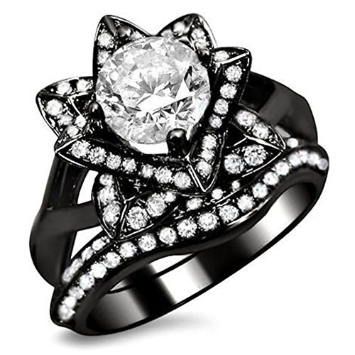 Smjewels 1.60 Ct Round Sim.Diamond Lotus Flower Engagement Ring Bridal Set 14K Black Gold Fn by Smjewels