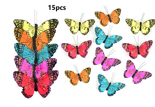 Touch of Nature 15 Piece Assorted Monarch Butterflies on a Clip - Arranging Supplies - Floral Decor - Spring Decor - Wreath Accents - Feather Butterfly - Craft Projects