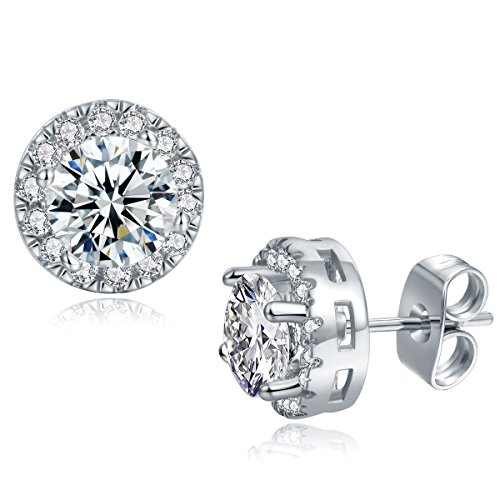 Vs1 Earring (18K White Gold Plated Cubic Zirconia Halo Stud Earrings Hypoallergenic CZ Studs for Women Men Girl with Sensitive Ears Jewelry Gift)