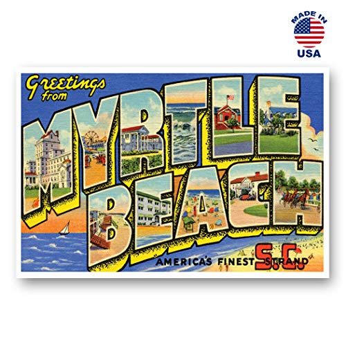 GREETINGS FROM MYRTLE BEACH, SC vintage reprint postcard set of 20 identical postcards. Large Letter Myrtle Beach, South Carolina city name post card pack (ca. 1930's-1940's). Made in ()