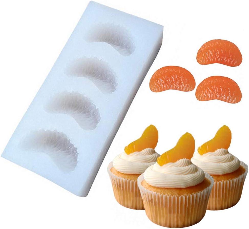 4-Cavity Tangerine Slice Silicone Mold Mandarin Orange Segments Fruit Fondant Gum Paste Icing Mold for Cake Cupcake Decoration Chocolate Candy Resin Polymer Clay Soap Embeds Mold