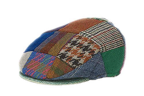 Hanna Hats Men's Donegal Tweed Vintage Cap Patchwork Bright Large