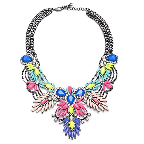 Lovage Colorful Resin Bubble Bib Statement Necklace Bohemian Chunky Collar Jewelry ()
